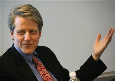 File photo of Robert Shiller, Yale professor, and chief economist and co-founder of financial firm MacroMarkets LLC., speaking during the Reuters Housing Summit in New York February 21, 2008. REUTERS/Brendan McDermid/files