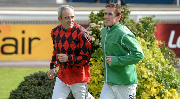 Jockeys Ruby Walsh, left, and Tony McCoy in conversation ahead of the Limerick Charity Race Day for the jockeys emergency fund. Limerick Racecourse, Greenmount Park, Co. Limerick. Picture credit: Diarmuid Greene / SPORTSFILE