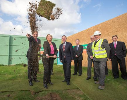 Minister for Children and Youth Affairs Frances Fitzgerald turns the sod to officially launch the construction project for the National Children Detention Facility in Oberstown, Lusk, Co Dublin. Also included are Minister of State Brian Hayes and on left, Gordon Jeyes, National Director of CFSS.