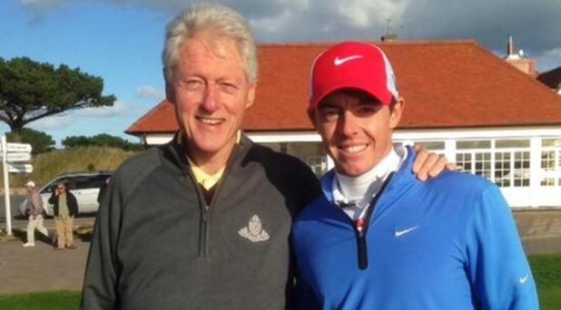 Bill Clinton and Rory McIlroy enjoy a round of golf