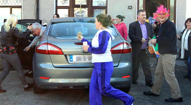 John Gilligan arrives at the house of his brother Thomas in Clondalkin. Photo copyright: Padraig O'Reilly