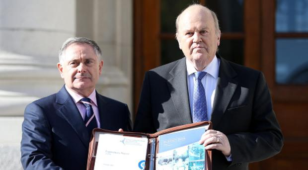 Minister for Finance Michael Noonan and Brendan Howlin Minister for Expenditure and Public Reform today. Photo: Frank McGrath