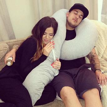 Khloe cuddles up to her younger brother Rob Kardashian. (Instagram: Khloe Kardashian)