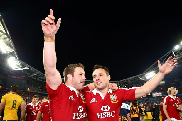 Sean O'Brien and Tommy Bowe celebrating the Lions' victory in 2013 Pic: Sportsfile