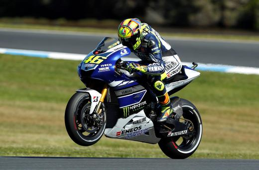 Yamaha MotoGP rider Valentino Rossi of Italy rides during the second free practice session of the Australian Grand Prix