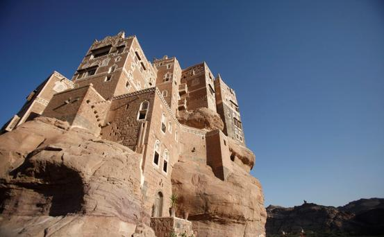 A view of Dar al-Hajar (Rock Palace), one of Yemen's most famous monuments