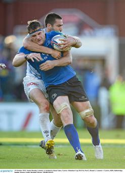 Jamie Heaslip, Leinster, is tackled by Remi Tales, Castres