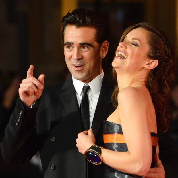 Colin Farrell shares a joke with castmate Ruth Wilson as the pair attend the London premiere of their new film 'Saving Mr Banks'. Co-stars Tom Hanks and Emma Thompson were also at the event