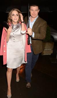 Amy Huberman and Brian O'Driscoll before the Late Late Show on Friday night