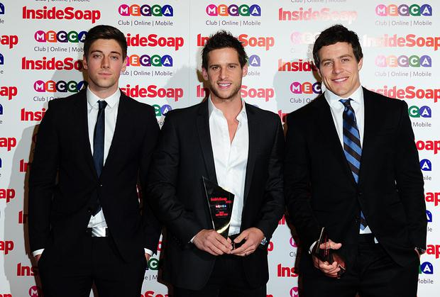 (left to right) Lincoln Younes, Dan Ewing and Steve Peacocke at the Inside Soap Awards, Ministry of Sound, London.