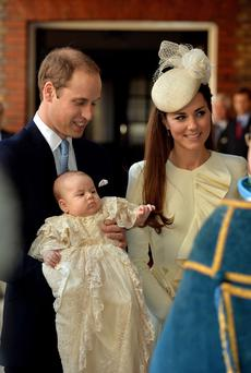The Duke and Duchess of Cambridge with their son Prince George Photo: John Stillwell/PA Wire
