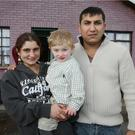 Two year old Iancu Muntean pictured with his mother Loredana and father Iancu