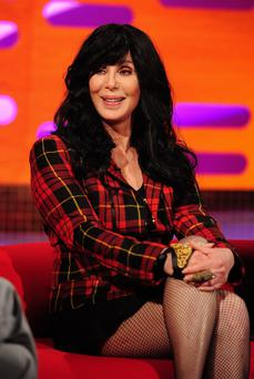 Cher during filming for the Graham Norton Show at The London Studios.