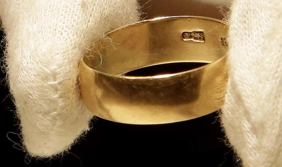 Lee Harvey Oswald's wedding ring, which he left at his wife's, Marina Oswald, bedside the morning of the assassination of President John Fitzgerald Kennedy