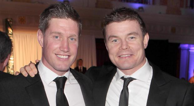 Ronan O Gara and Brian o Driscoll at The Ronan O Gara Testimonial Dinner at City Hall Cork Pictures:Brian mcEvoy