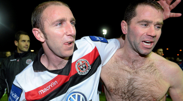 Bohemians caretaker manager Owen Heary, left, celebrates with Dave Mulcahy at the end of the game away to Drogheda