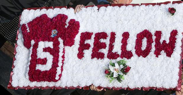 Flowers in the shape of a Galway number 5 jersey at the funeral of Niall Donohue at St Columba's Church in Kilbeacanty, Co. Galway. Picture credit; Damien Eagers / Irish Independent 27/10/2013