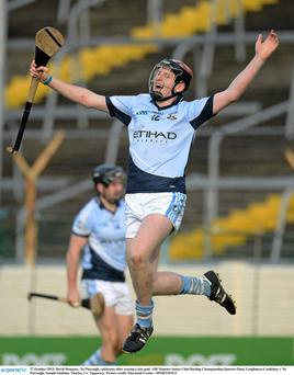 David Dempsey, Na Piarsaigh, celebrates after scoring a late goal. AIB Munster Senior Club Hurling Championship Quarter-Final, Loughmore-Castleiney v Na Piarsaigh, Semple Stadium, Thurles, Co. Tipperary. Picture credit: Diarmuid Greene / SPORTSFILE