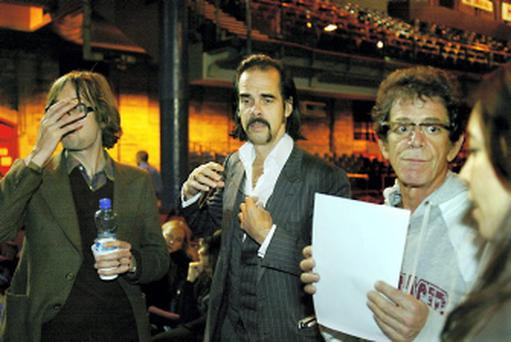 Jarvis Cocker, Nick Cave and Lou Reed about to go on stage at the Point in 2006
