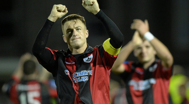 28 October 2013; Chris Deans, Longford Town, celebrates at the end of the game. Airtricity League Promotion / Relegation Play-Off Final 1st Leg, Bray Wanderers v Longford Town, Carlisle Grounds, Bray, Co. Wicklow. Picture credit: David Maher / SPORTSFILE