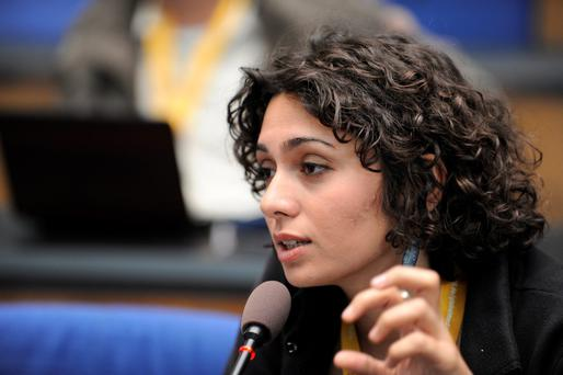Iranian actress and blogger Pegah Ahangarani speaks during an event of Deutsche Welle