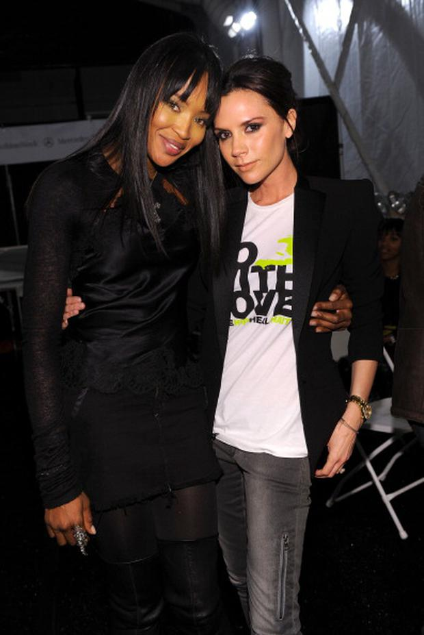 Naomi Campbell and Victoria Beckham pose backstage at Naomi Campbell's Fashion For Relief Haiti NYC 2010 Fashion Show during Mercedes-Benz Fashion Week at The Tent at Bryant Park on February 12, 2010 in New York City.