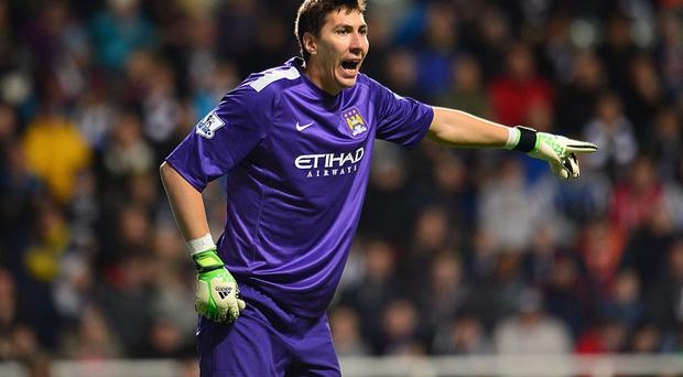 Manchester City goalkeeper's Costel Pantilimon during the Capital One Cup.