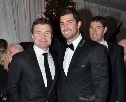 Guests arrive at the Bank of Ireland Excellence in Sport Awards 2012 at The Burlington Hotel, Dublin, Ireland - 10.12.12. Pictures: VIPIRELAND.COM *** Local Caption *** Brian O'Driscoll, Rob Kearney, Padraig Harrington