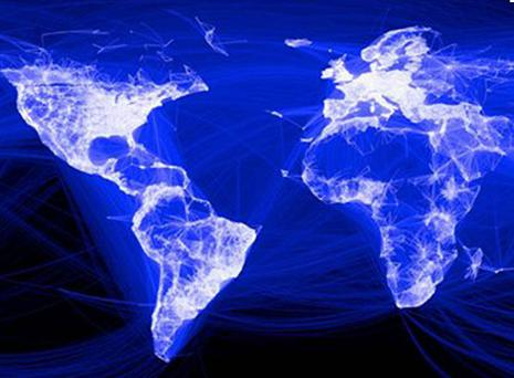 An illustration from Facebook showing the social networks global links. Each blue line represents a friendship