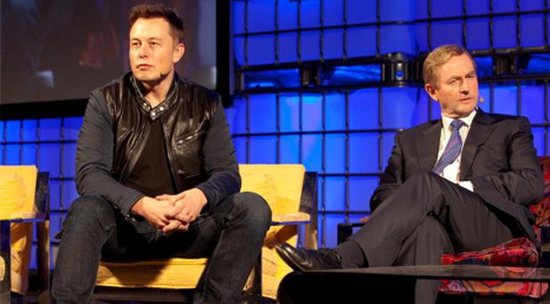 Elon Musk and Enda Kenny at The Dublin Web Summit. Picture: Tony Kinlan, 31/10/2013.