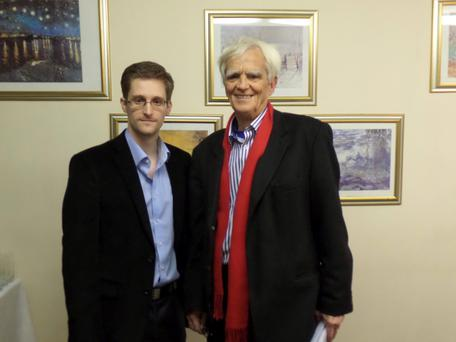 German Greens lawmaker Hans-Christian Stroebele poses for a picture with fugitive former U.S. spy agency contractor Edward Snowden