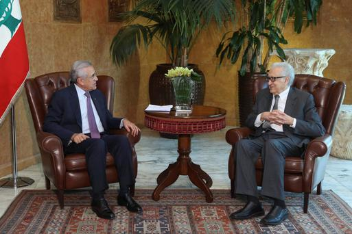 Lebanon's President Michel Suleiman (L) meets with United Nations Peace Envoy for Syria Lakhdar Brahimi at the presidential palace in Baadba, near Beirut