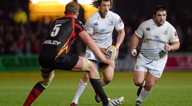 Zane Kirchner, Leinster, in action against Matthew Screech tonight