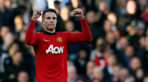 Manchester United's Robin Van Persie celebrates after scoring against Fulham