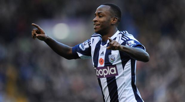 Saido Berahino of West Bromwich Albion celebrates scoring the opening goal during the Barclays Premier League match between West Bromwich Albion and Crystal Palace at The Hawthorns