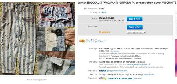 EBAY has removed from its listings around 30 items of memorabilia from the Nazi Holocaust