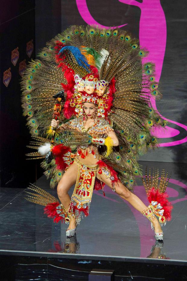 Nastassja Bolivar, Miss Nicaragua 2013, models in the national costume contest for Miss Universe 2013 at Vegas Mall in Moscow November 3, 2013. The Miss Universe pageant will be held at Crocus City Hall in Moscow on November 9. REUTERS/Darren Decker/Miss Universe Organization L.P.
