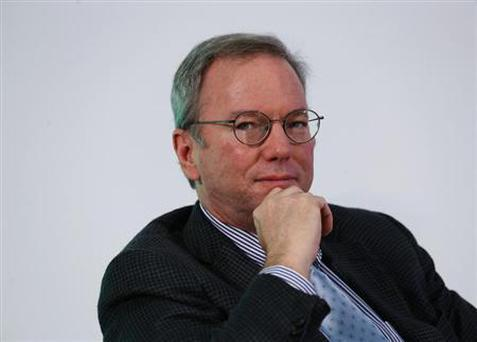 Google Executive Chairman Eric Schmidt looks on during a talk titled