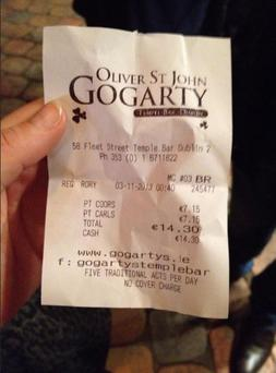 The receipt, which was posted online, has caused debate. (Facebook/Larissa Quinn Healy)