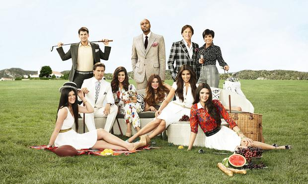 (l-r) Kendall Jenner, Rob Kardashian, Scott Disick, Kourtney Kardashian, Lamar Odom, Khloe Kardashian Odom, Kim Kardashian, Bruce Jenner, Kris Jenner, Kylie Jenner -- (Photo by: E! Entertainment) in 2012