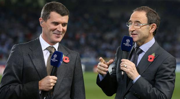 New Republic of Ireland manager Martin O'Neill and assistant manager Roy Keane in their capacity as football analysts for ITV sport at the UEFA Champions League match between Real Sociedad and Manchester United
