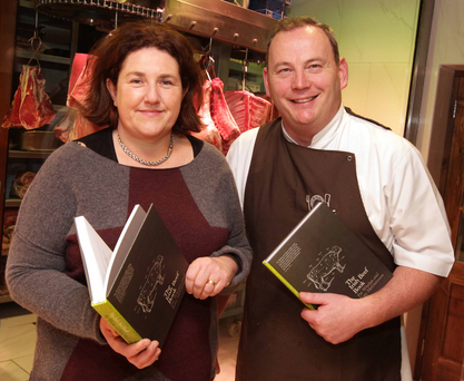 Food write Katy McGuinness with Pat Whelan at the launch of their book.