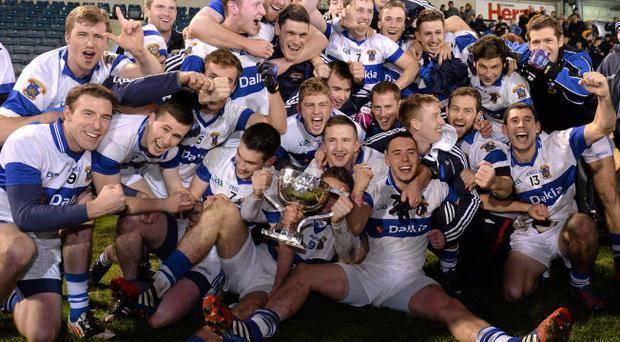The St Vincent's players celebrate with the cup. Dublin County Senior Football Championship Final Replay, Ballymun Kickhams v St Vincent's, Parnell Park, Dublin. Picture credit: Matt Browne / SPORTSFILE
