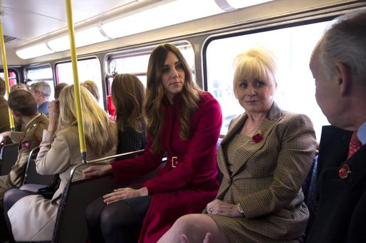 Duchess of Cambridge (and Barbara Windsor surprised hundreds of commuters as they travelled on a 1960s Routemaster bus