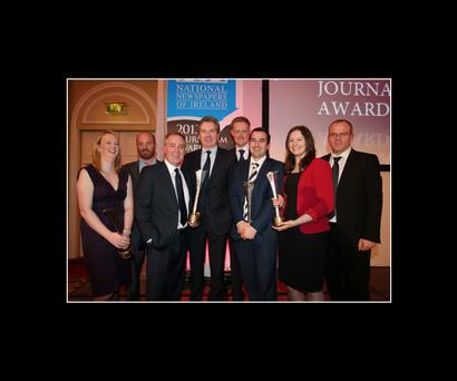 Award-winners (from left) Fionnuala O'Leary, executive editor, Independent.ie, Eoin Butler, feature writer of the year, Paul Williams, Scoop of the Year, Stephen Rae, Editor in Chief, (centre), Fionnan Sheahan, Group Political Editor, Fiach Kelly, Political Journalist of the Year, video editor Caoimhe Gaskin and Ian Mallon, Group Head of News. Picture: Frank McGrath