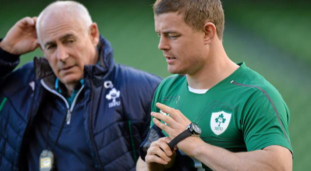 8 November 2013; Ireland's Brian O'Driscoll makes his way off the pitch with team manager Michael Kearney during the captain's run ahead of their Guinness Series International match against Samoa on Saturday. Ireland Rugby Squad Captain's Run, Aviva Stadium, Lansdowne Road, Dublin. Picture credit: Matt Browne / SPORTSFILE