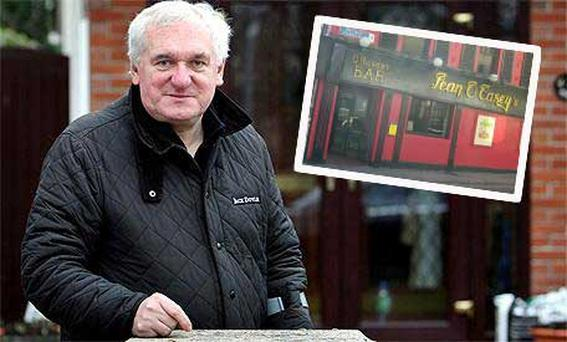 Former Taoiseach Bertie Ahern and (inset) the Sean O'Casey pub