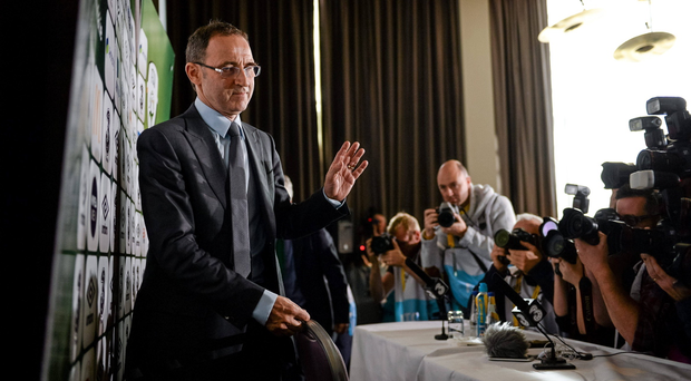 New Republic of Ireland manager Martin O'Neill arrives for his first press conference. Gibson Hotel, Dublin. Picture credit: Brendan Moran / SPORTSFILE