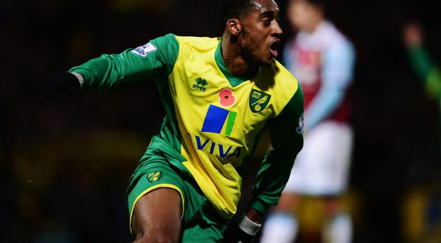 Leroy Fer of Norwich City celebrates as he scores their third goal