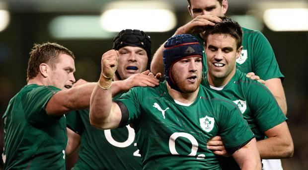 9 November 2013; Sean O'Brien, Ireland, is congratulated by team-mates after scoring his side's second try. Guinness Series International, Ireland v Samoa, Aviva Stadium, Lansdowne Road, Dublin. Picture credit: Paul Mohan / SPORTSFILE
